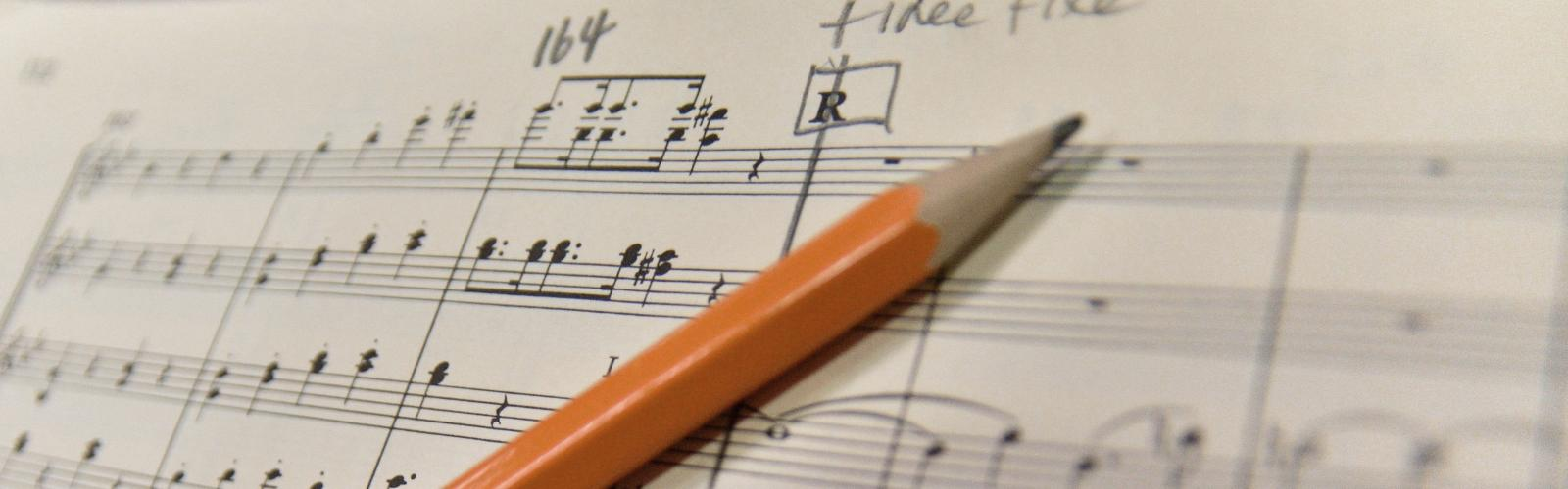 Music score with pencil